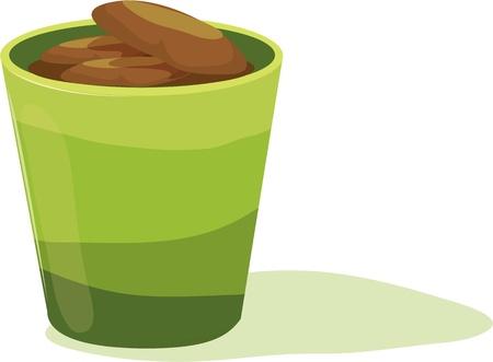 Brown pebbles inside green pot Stock Vector - 13206202