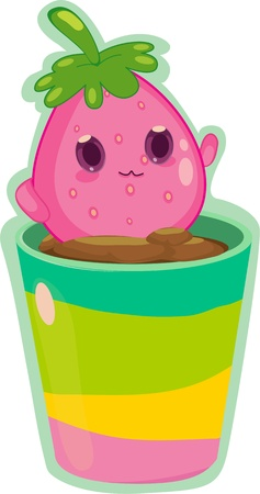 Living fruit creature inside flower pot Vector