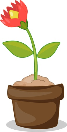 illustration of flower pots on white Vector