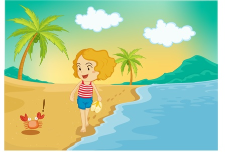 coconut crab: illustration of girl standing beside crab on cost
