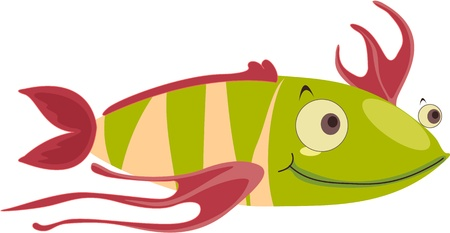 Strange green striped happy fish Stock Vector - 13206232