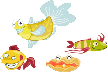 Many fish together as a team Vector