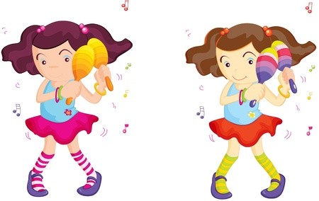 maracas: Two identical girls shake maracas