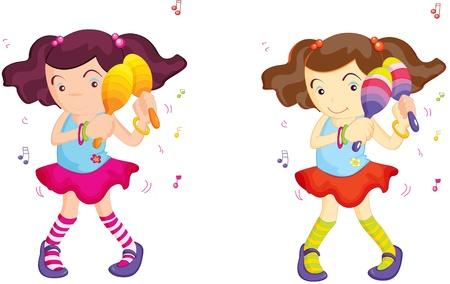 maraca: Two identical girls shake maracas