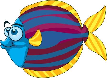 blue fish: Illustration of  a cartoon fish on white Illustration