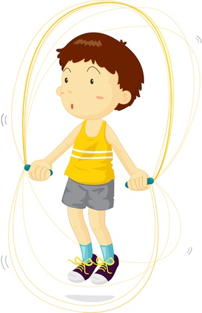 Boy using jump rope to train Vector
