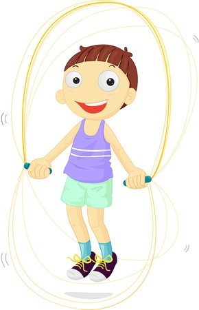 skipping rope: Boy skipping joyfully to become fit Illustration