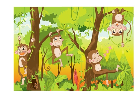jungle cartoon: Ilustraci�n de un mono en una selva Vectores