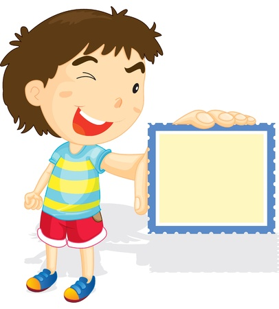 naughty: Illustration of boy showing stamp