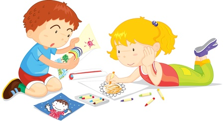 female child: Two children drawing pictures together