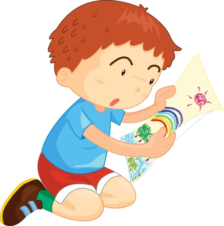 Boy kneeling on the ground looking at a picture Vector