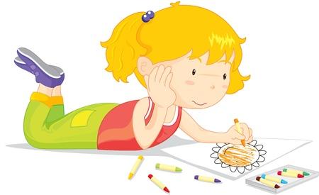 Blond meisje kleuren van een foto van een bloem Stock Illustratie