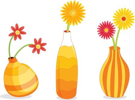 Three vases in orange tones Vector