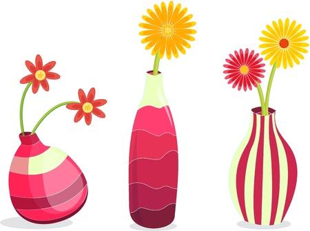 illustration of flower pots on white Stock Vector - 13216060