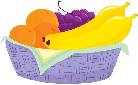 canasta de frutas: Ilustraci�n de la cesta de frutas en blanco