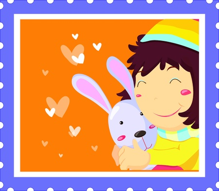 rosy: Girl hugging rabit with hearts on a stamp