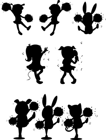 illustration of images of shadows of girls and animals Vector