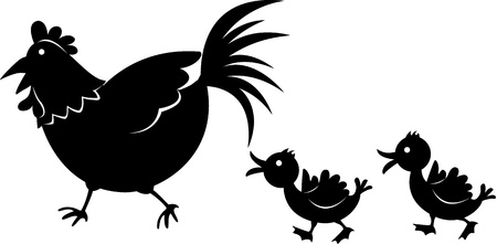 illustration of images of shadows of cock and chicken on white Vector