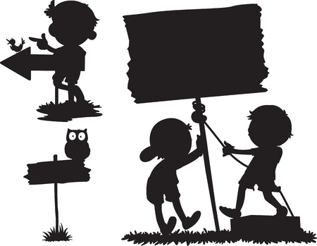 illustration of shadows of different cartoons Vector