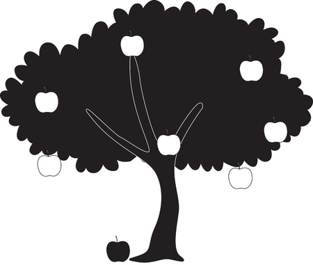 illustration of shadow of apple tree Vector