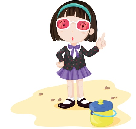 Bossy looking girl at the beach Stock Vector - 13215357