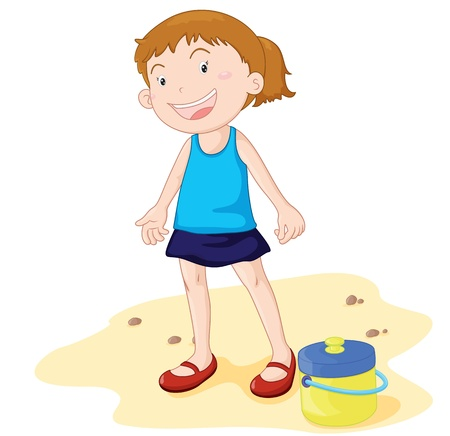 Happy looking girl at the beach Stock Vector - 13206777