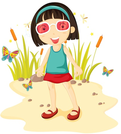 Girl surrounded by butterflies and other insects Vector