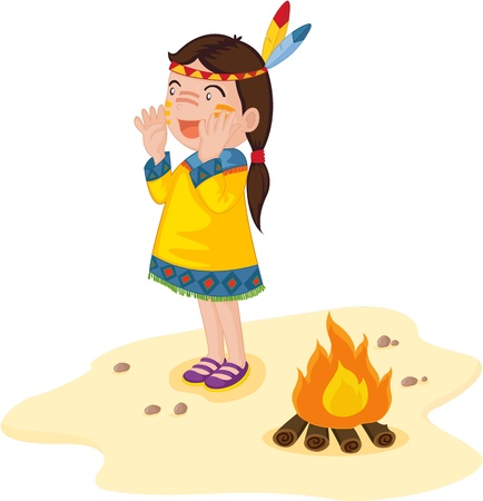 tribu: Mujer india de pie delante de un fuego