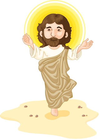 Jesus in the dessert with halo Stock Vector - 13215319