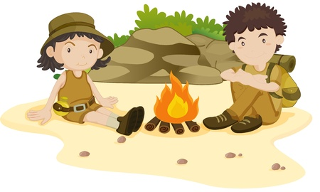 exploring: Two explorers resting by the fire Illustration