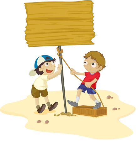 Two boys work together on beach Vector