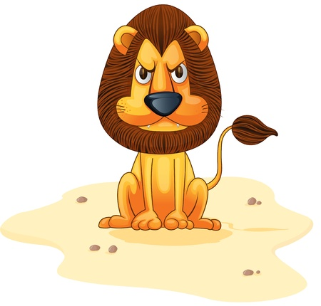 Hungy lion assis sur la zone de sable