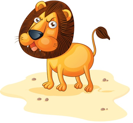 beach side: Lion roaring on a sandy area