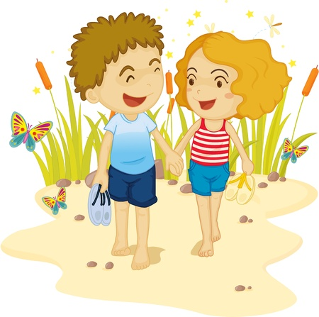Couple taking a walk down a sandy way Vector