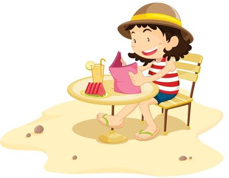 siting: Illustration of  a girl on white Illustration