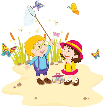 A pair of children catching butterflies Vector
