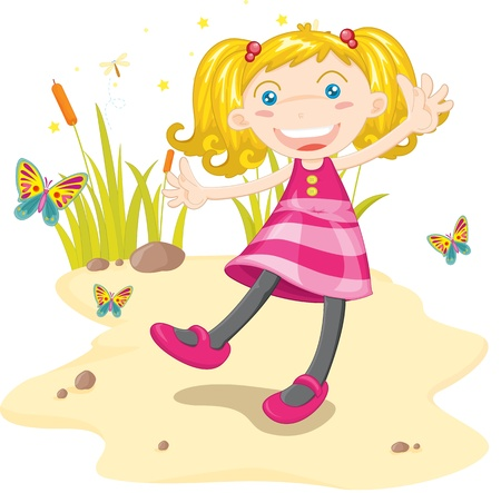 curly hair child: Girl dancing on sand with butterflies Illustration