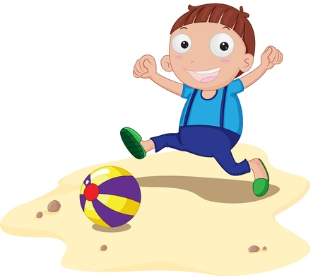 beach side: Boy with a beach ball
