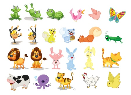 assorted animal illustrations Vector