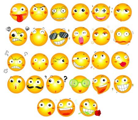 ilustración de emoticonos en blanco