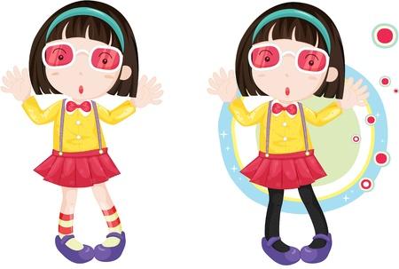 hairband: illustration of girls wearing eyeglasses Illustration