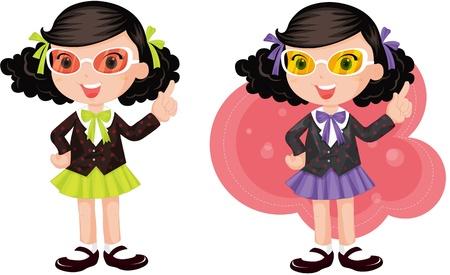 spec: illustration of girls wearing eyeglasses Illustration