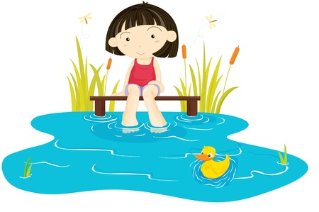 illustraion of girl sitting in the garden Vector