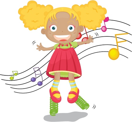 illustration of girl singing on springs