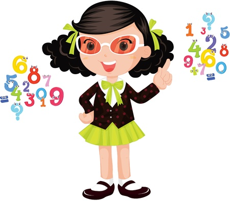 one colour: illustration of girls learning numbers