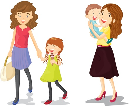 illustration of kids with mummy Vector