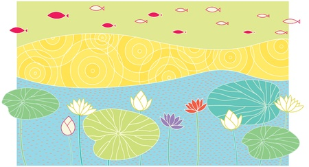 illustration of fish and lotus in the lake Vector