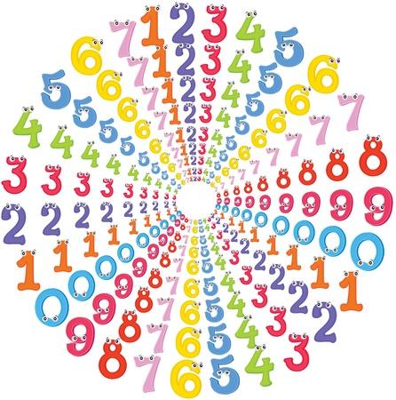matematica: ilustraci�n de los n�meros en forma circular Vectores