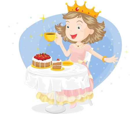 illustration of queen eating pastries and strawberries Vector