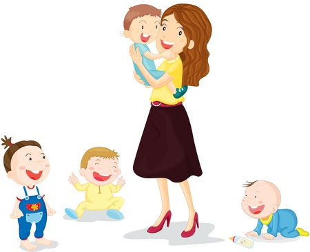 mom baby: illustration of kids with mom Illustration